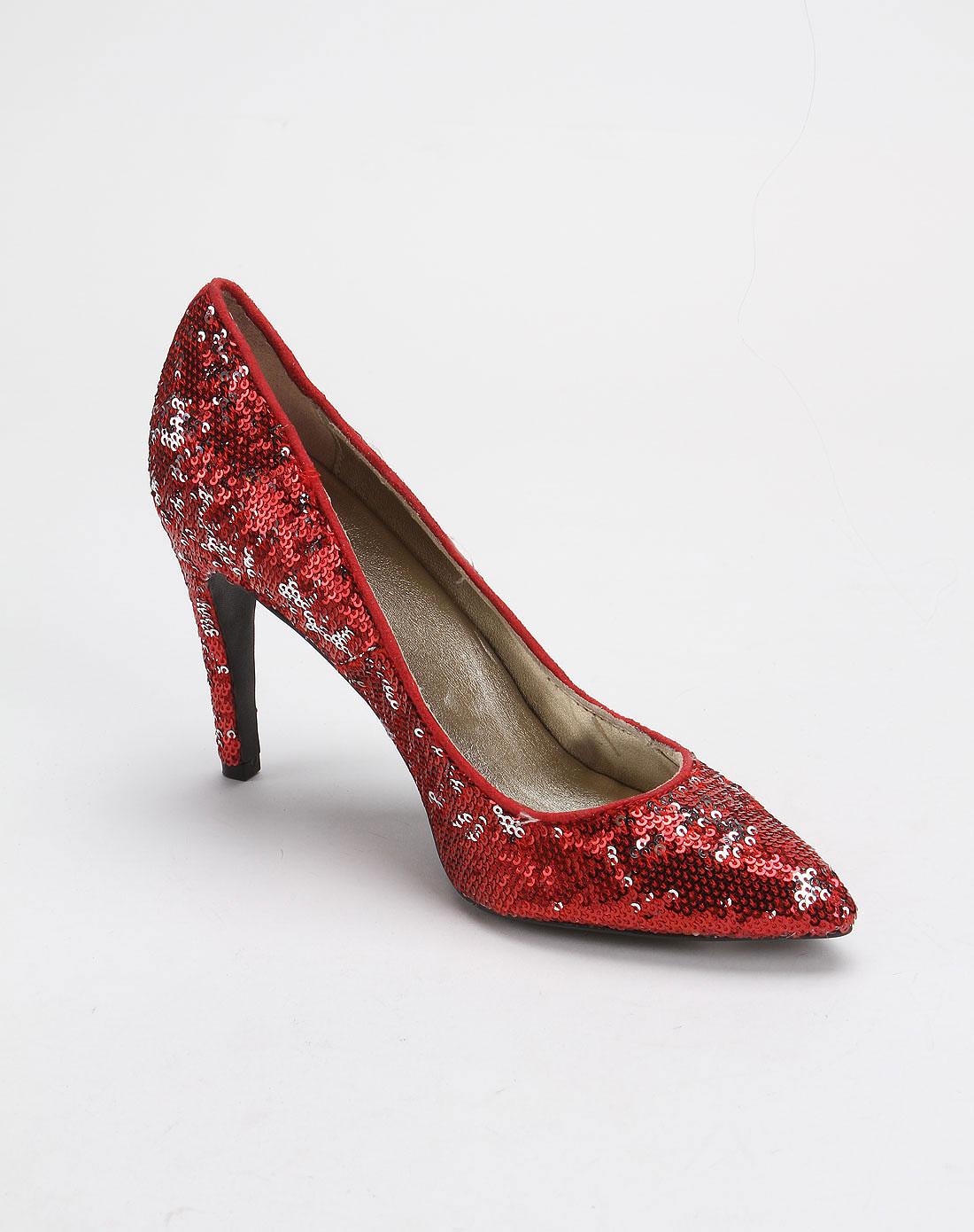 红色喜气珠片高跟鞋