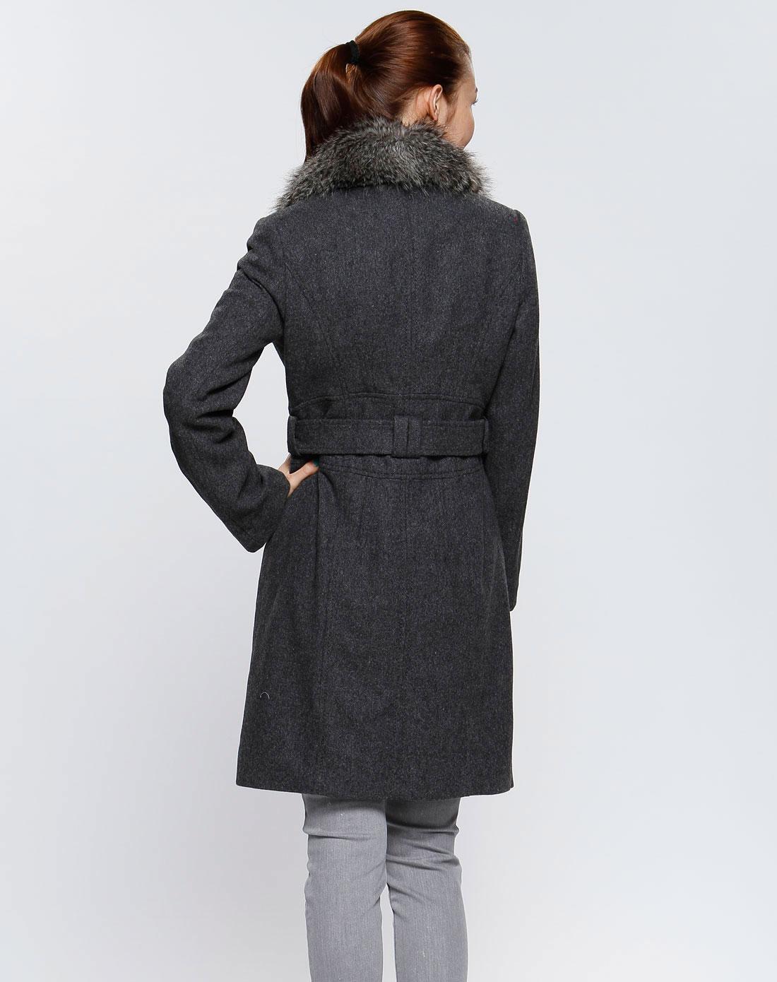 女款深灰色时尚长袖大衣
