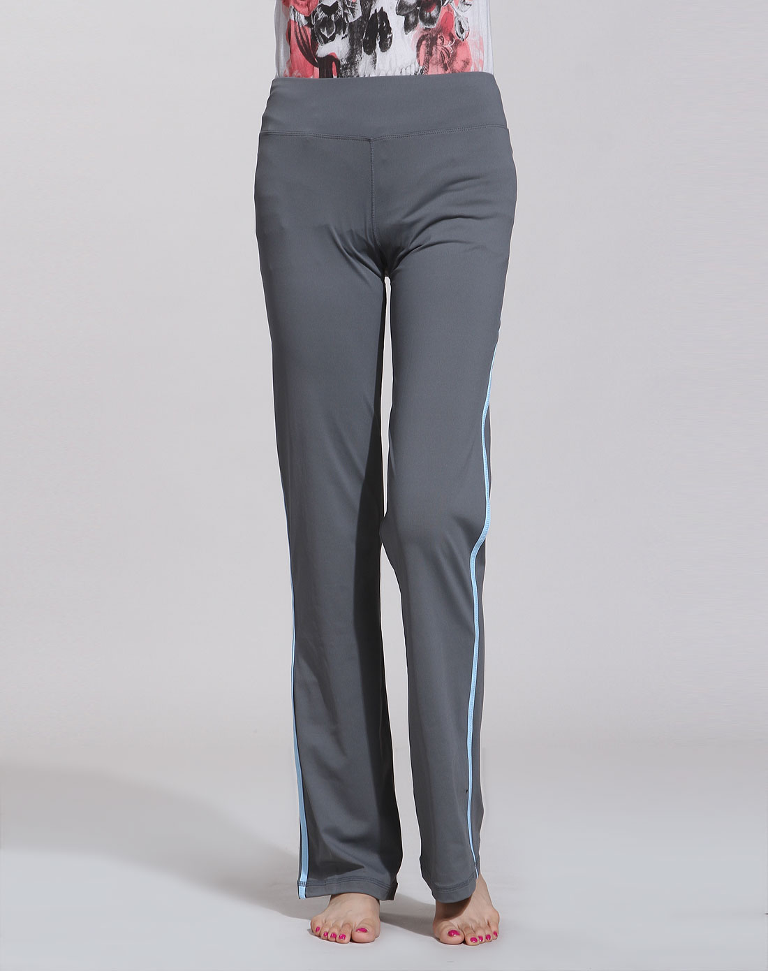洲克瑜伽服专场女款深灰/天兰色瑜伽运动针织长裤-1