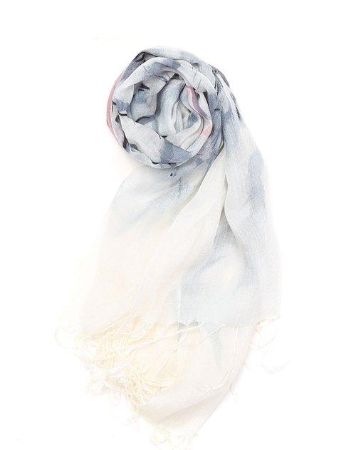 白井 女款白底蓝紫色印花围巾