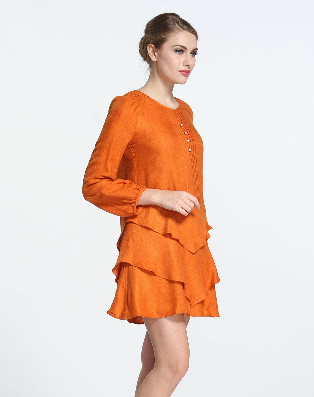 橙色长袖连衣裙图片
