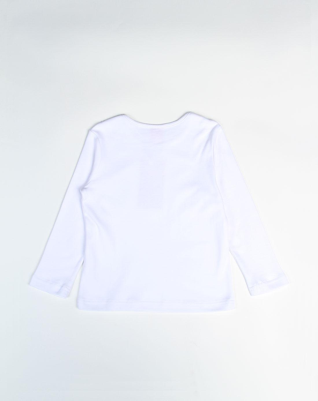 女童圆领印熊白色底长袖t恤
