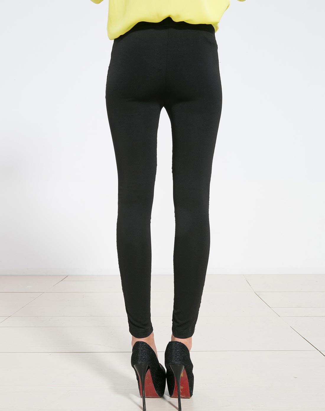 艾米拉aimila 黑色双料拼接松紧腰显瘦长裤