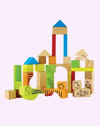 积木拼图序列玩具专场hape 38块动物积木702842_唯品