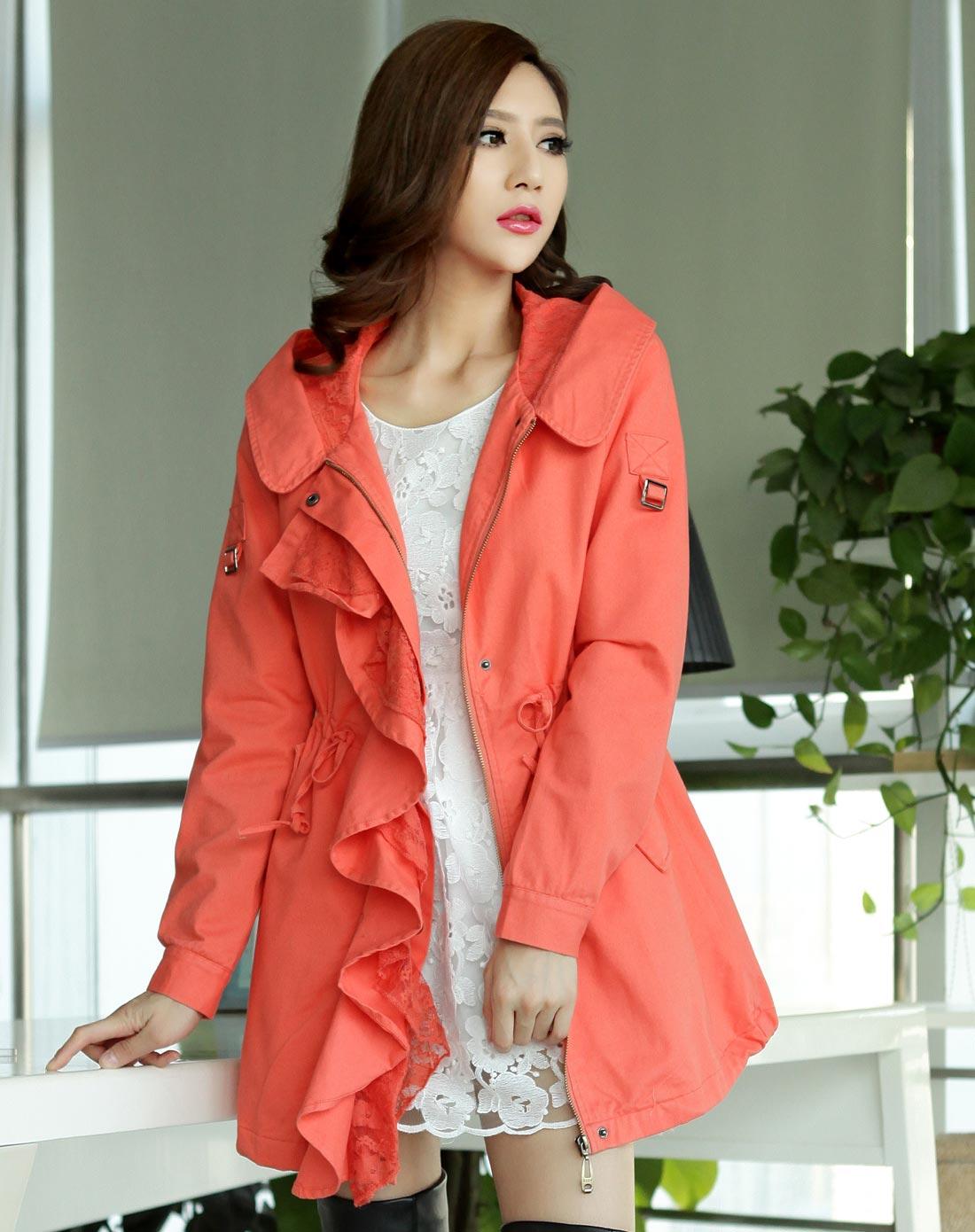 橘红色中长款女式风衣