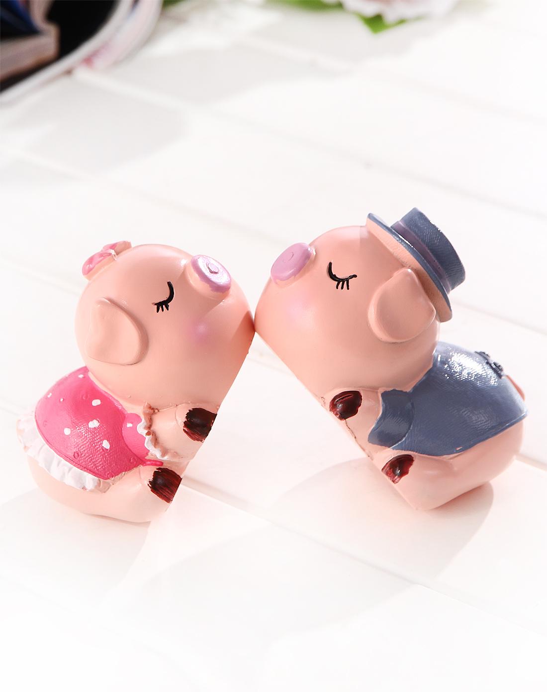 可爱亲嘴粉色小猪树脂摆件 2入