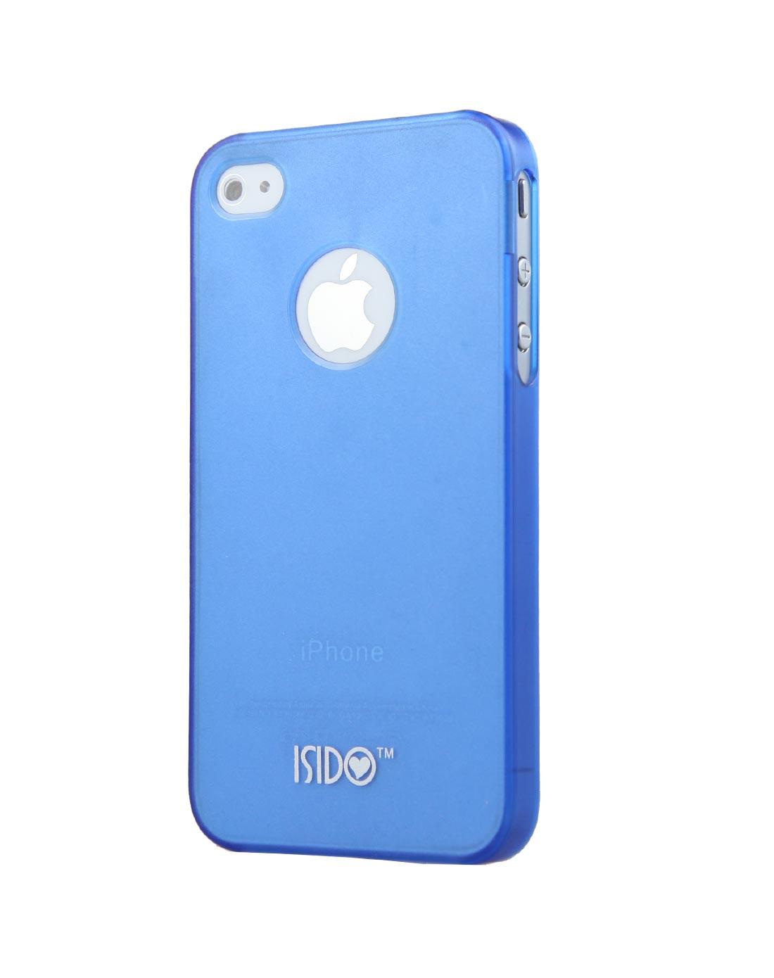 苹果4/4s半透磨砂蓝色手机壳