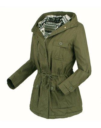 女款军绿色两件套开衫连帽长袖风衣
