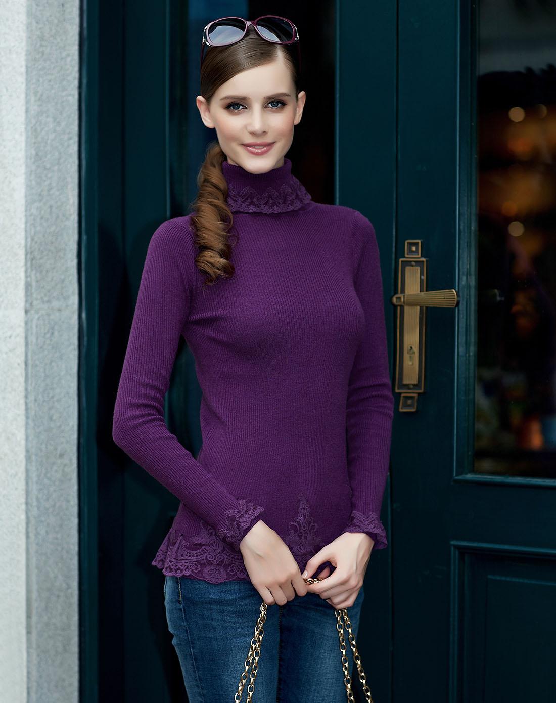 osa紫色蕾丝高领打底衫se350068000a