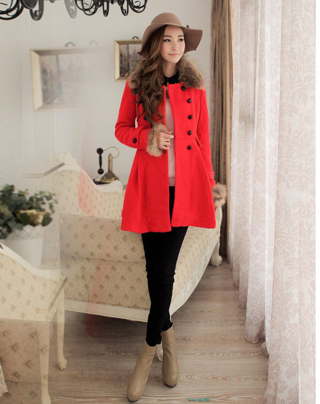 纳纹na·wain橘红色修身双排扣裙摆大衣037568ig