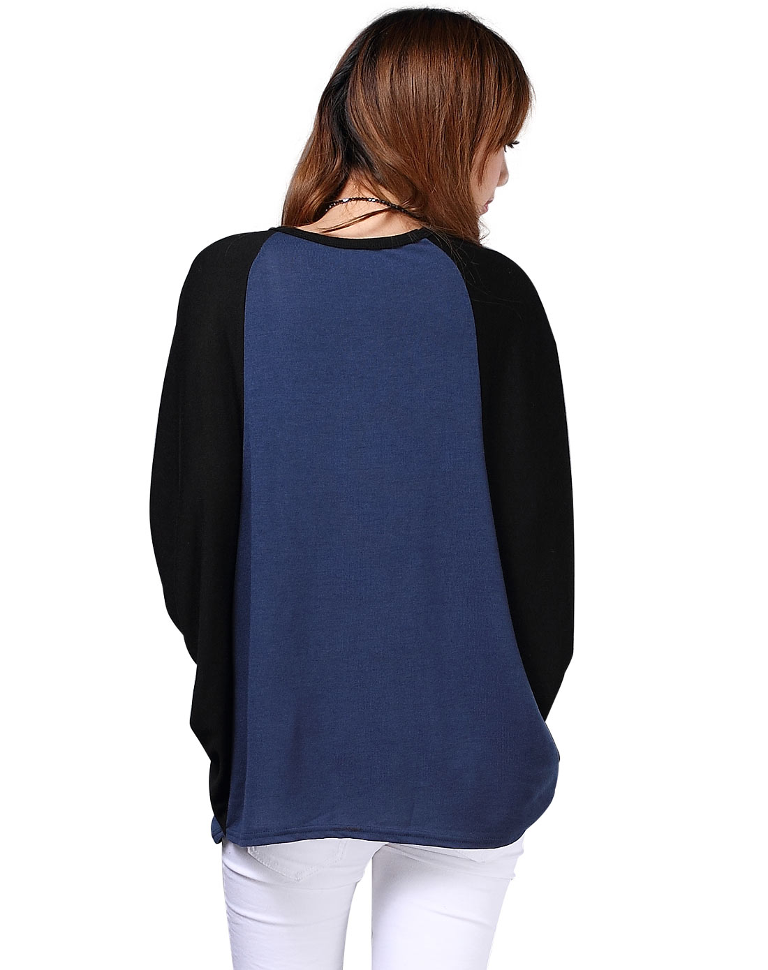 深蓝撞色拼接蝙蝠袖针织衫