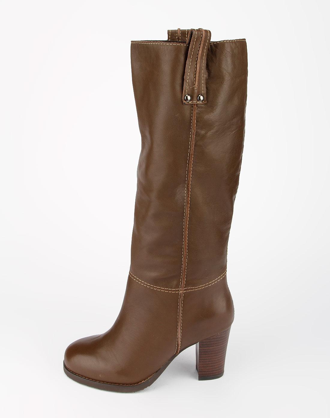 康莉comely卡其色打蜡牛皮高跟长靴110774205cml