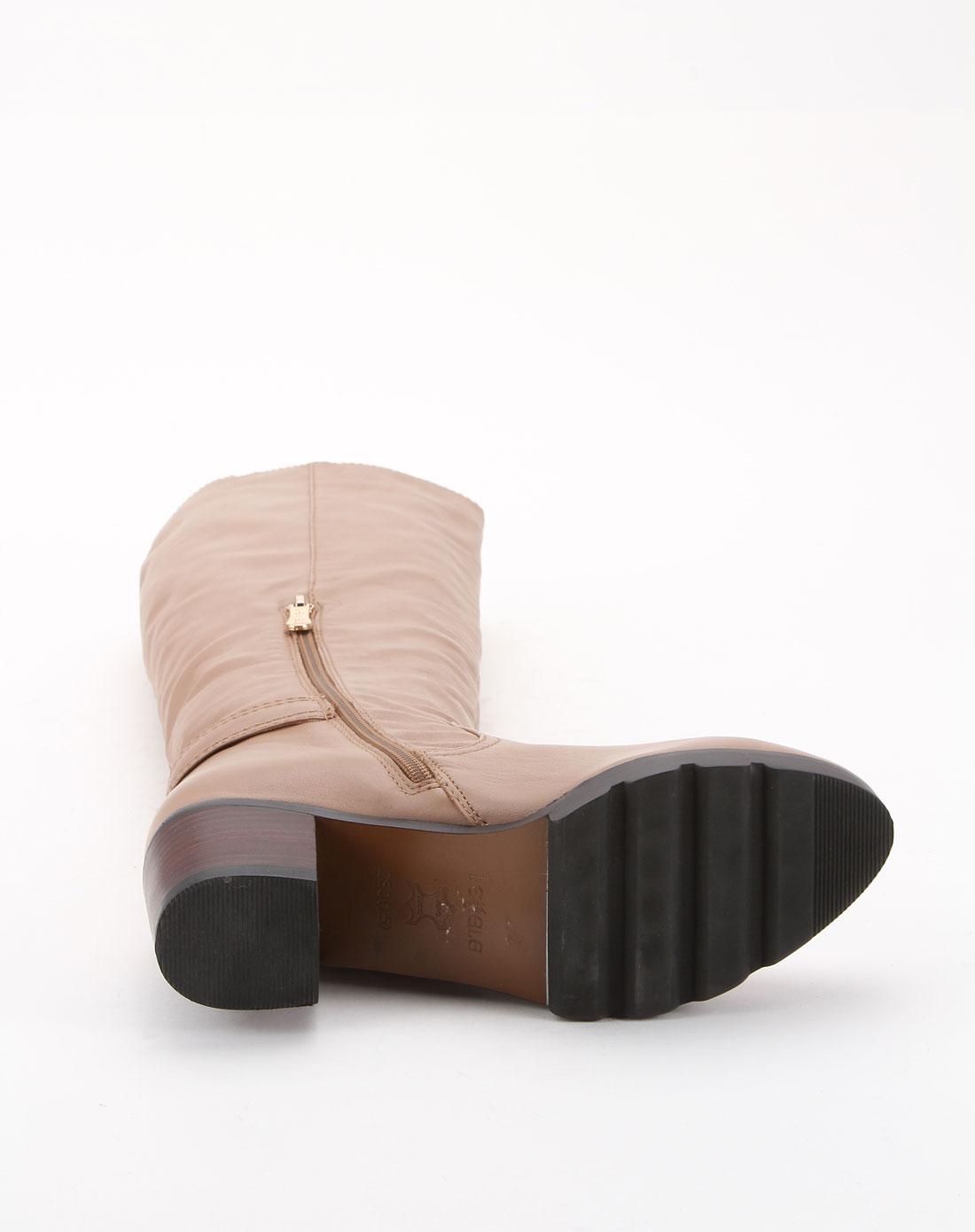莱思丽lesele浅卡其色简约中跟长靴cm11-ld5209-30
