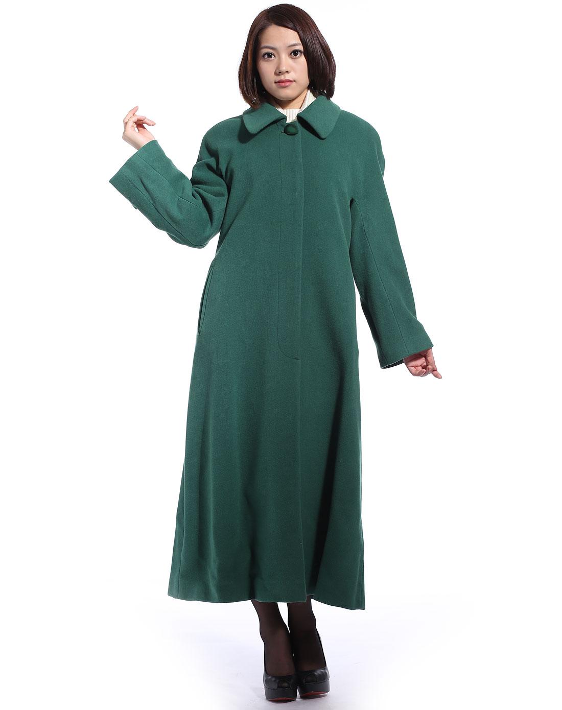 混纺方领连身袖女长大衣图片