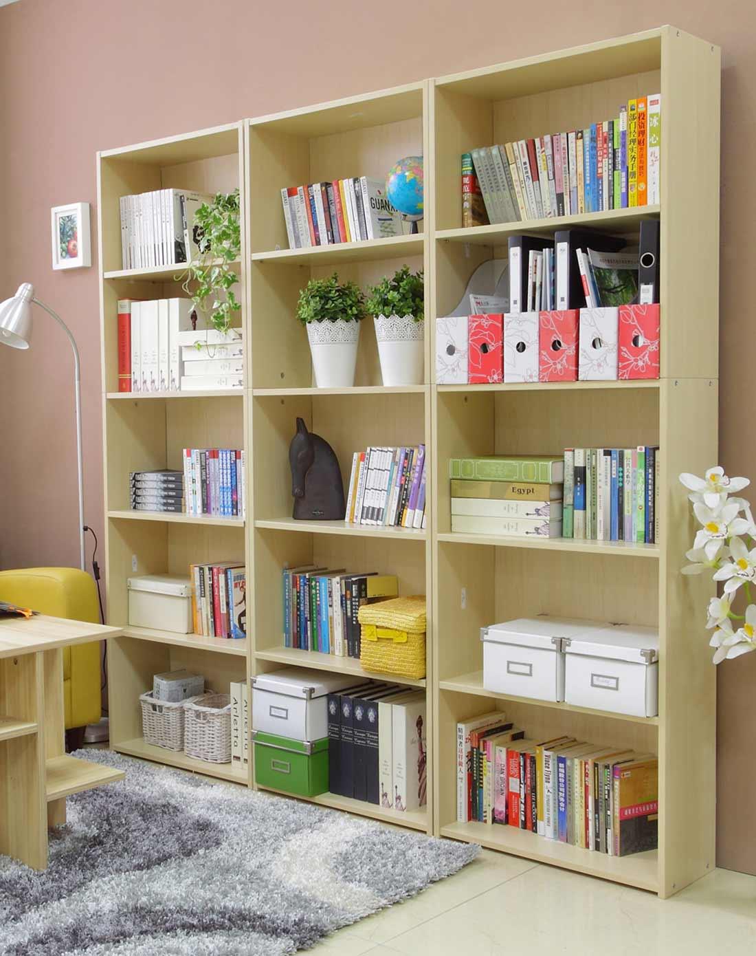 科林书柜书架宜家儿童自由组合简易书柜 书橱 置物架 枫木色