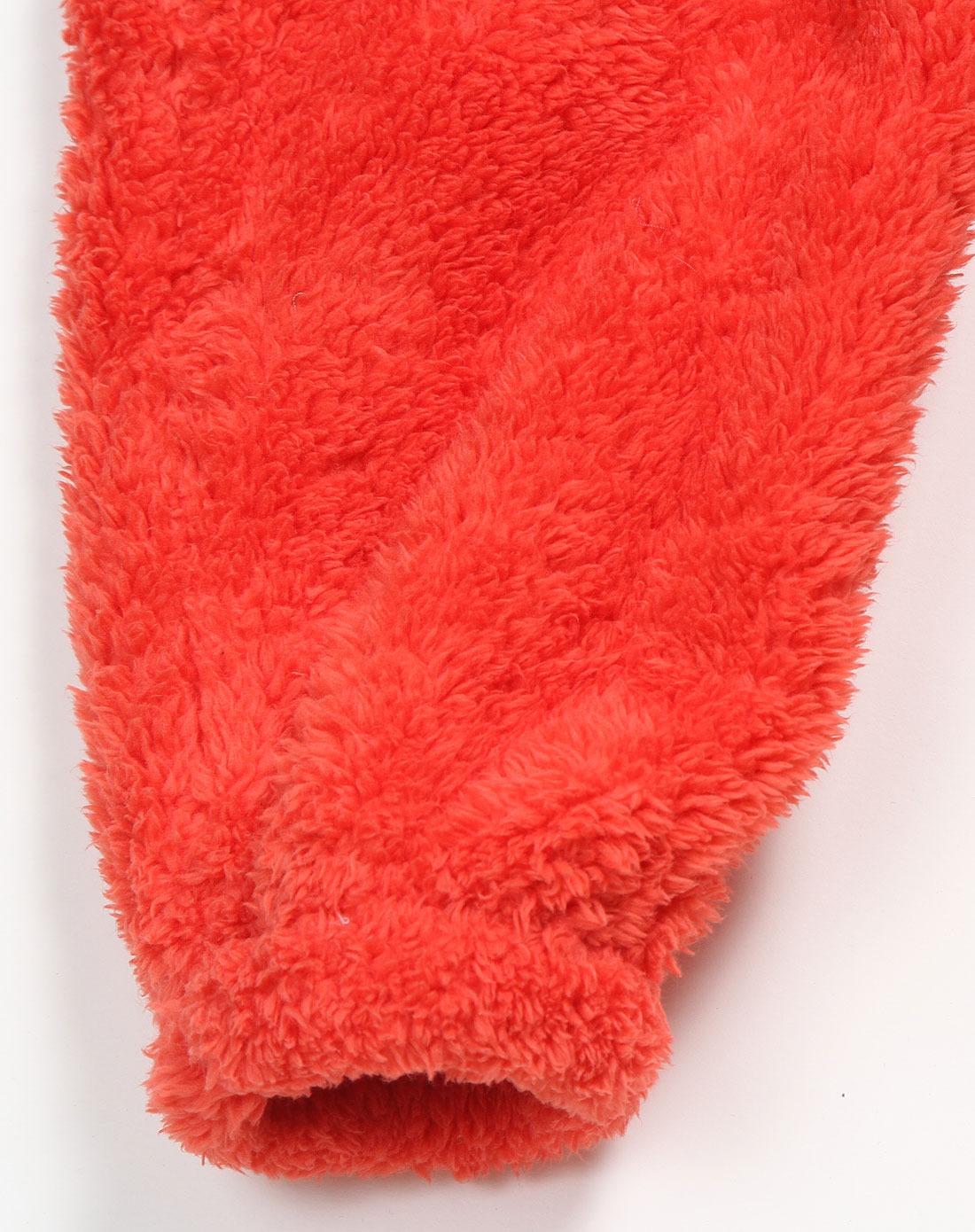 女童橘红色舒适可爱连帽长袖连体长裤