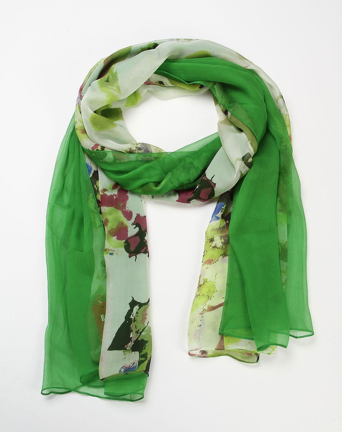 绿色西风画韵印花围巾