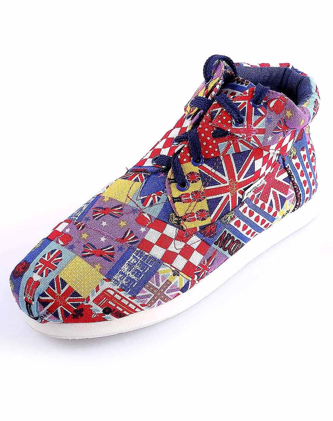 peluso 女款英国国旗/红高帮帆布鞋