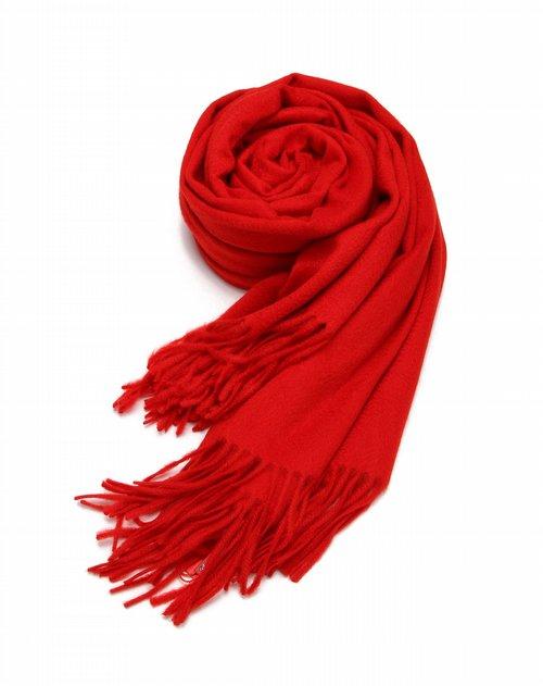 皮尔·卡丹 女款简约素色大红色羊绒围巾