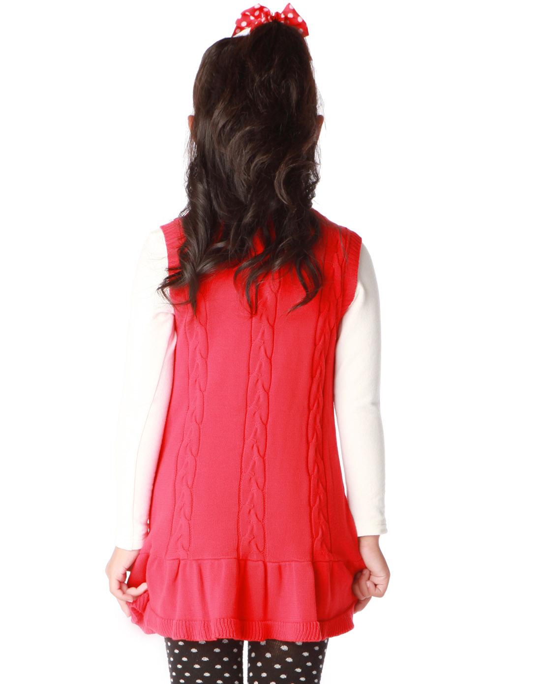 女童红色韩版休闲童装连衣裙