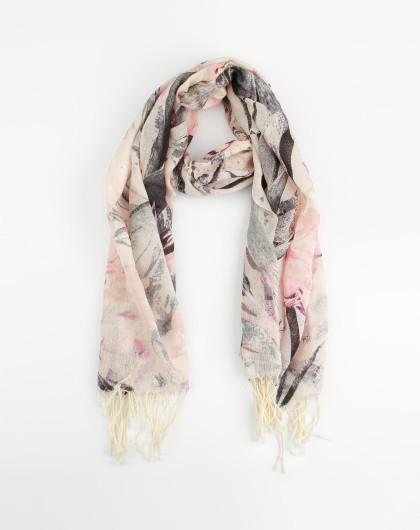 粉色油墨画羊毛围巾