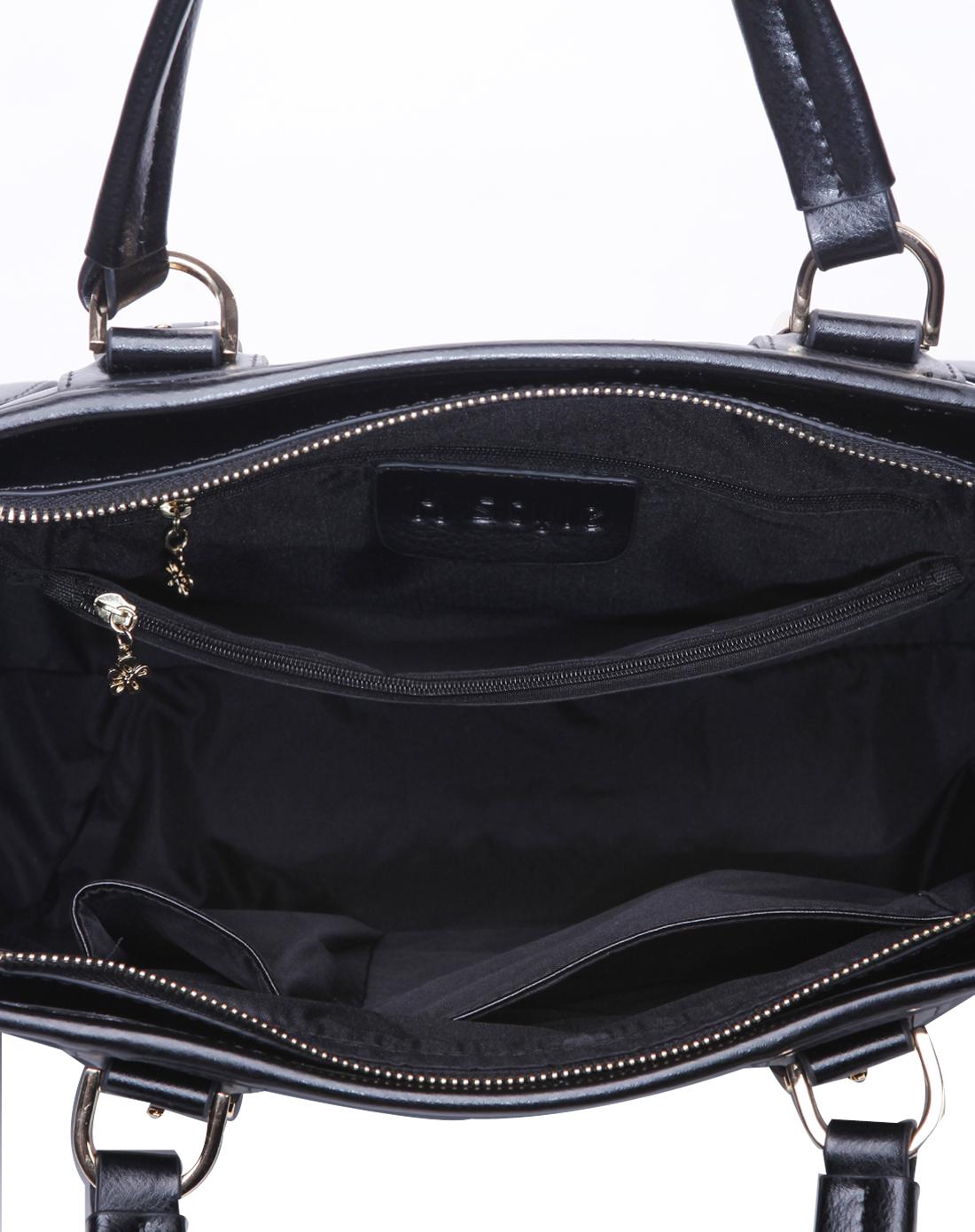凯丝莱尔k style黑色牛皮欧美时尚拼接手拎单肩女包