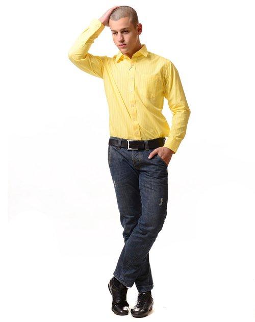 george beffry 男款黄条高支纯棉长袖衬衫