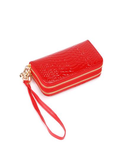 女士红色鱼鳞纹双拉链钥匙包零钱包