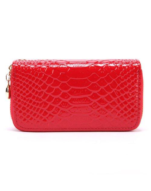 诗薇儿 女士红色鱼鳞纹双拉链钥匙包零钱包
