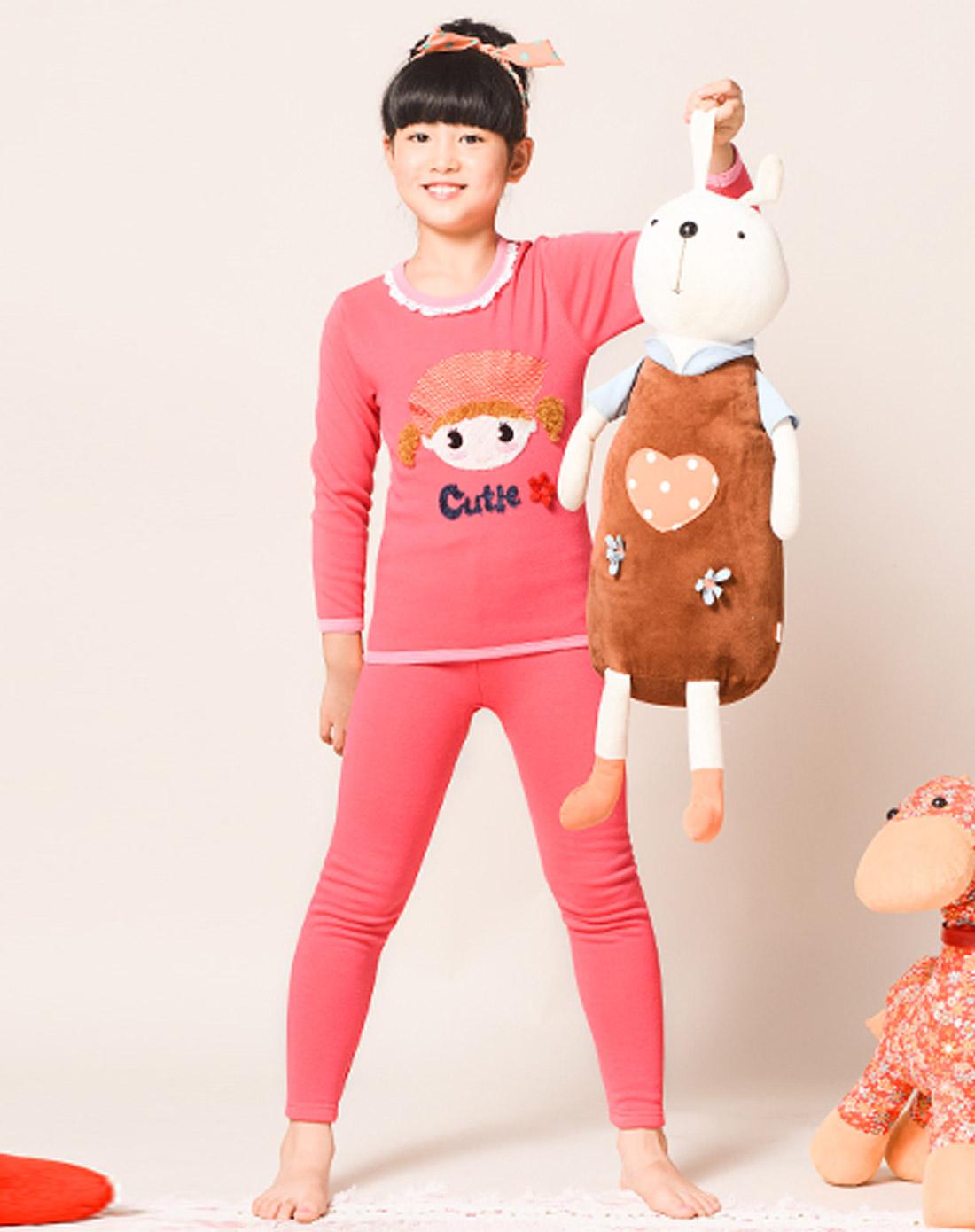 女童西瓜红绒型卡通印花女童套装