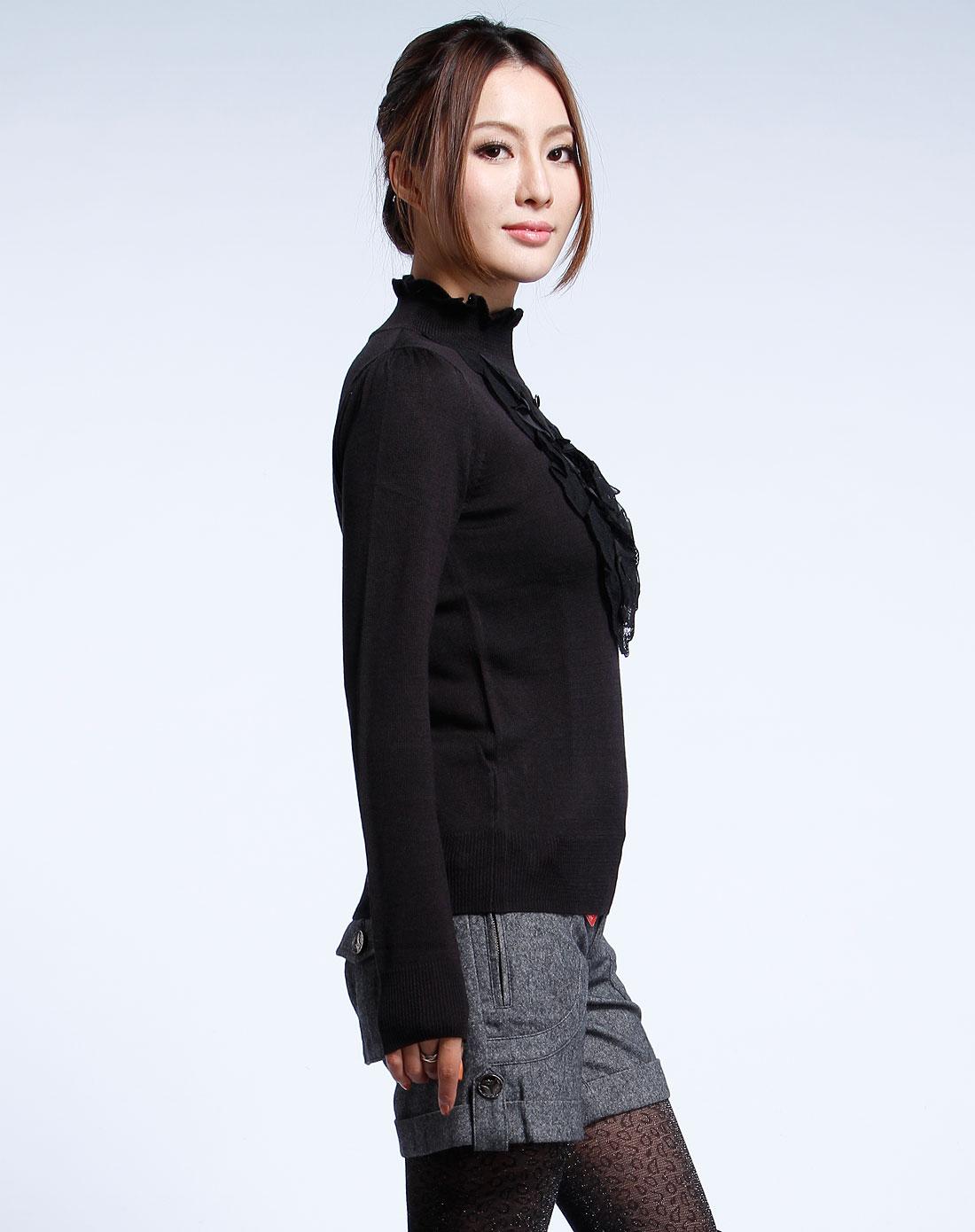 o.x. 黑色花边领长袖毛衣