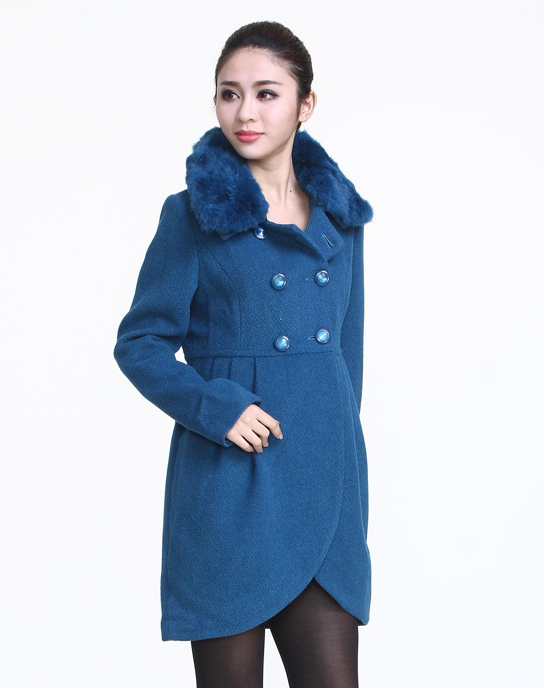 简gen深蓝色典雅长袖大衣10dg84800-57