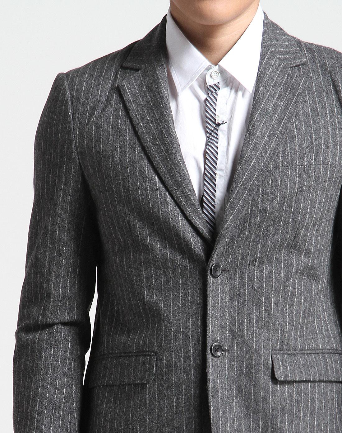深花灰色帅气条纹长袖西装