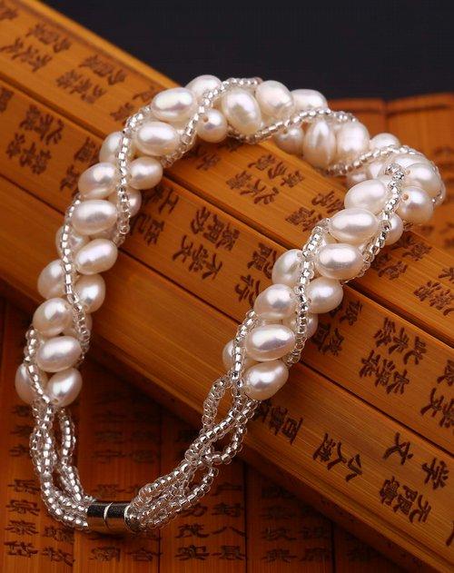 盈满堂 天然淡水珍珠精编手链-绕指柔
