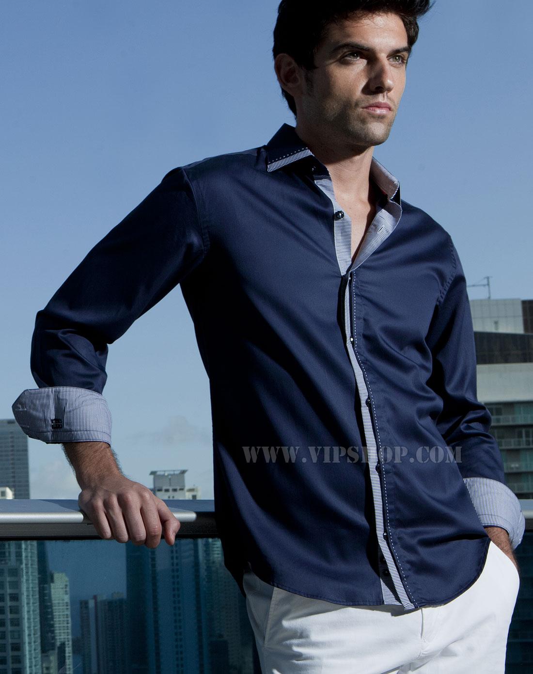 男士时尚长袖衬衫深蓝色