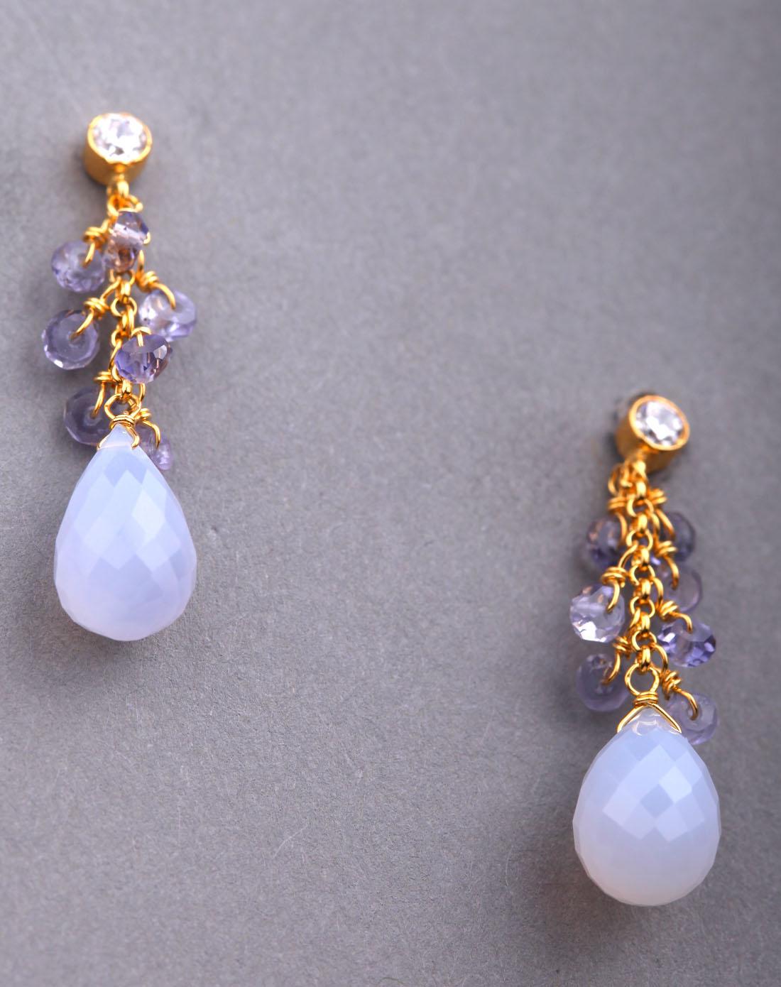 女款淡蓝色土耳其玉髓/黄青玉编织耳环