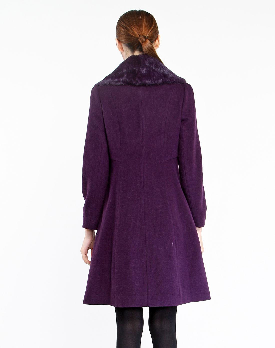 深紫色毛领气质高贵长袖大衣3w4c323