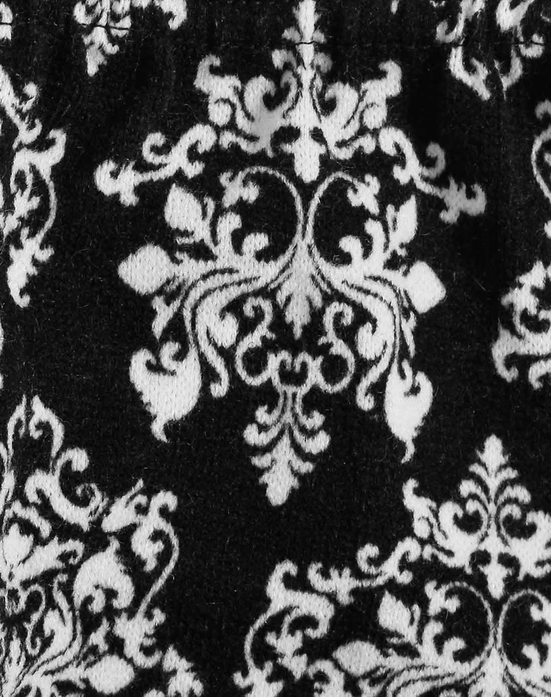 黑色兔毛复古图腾印花青花瓷花纹打底裤