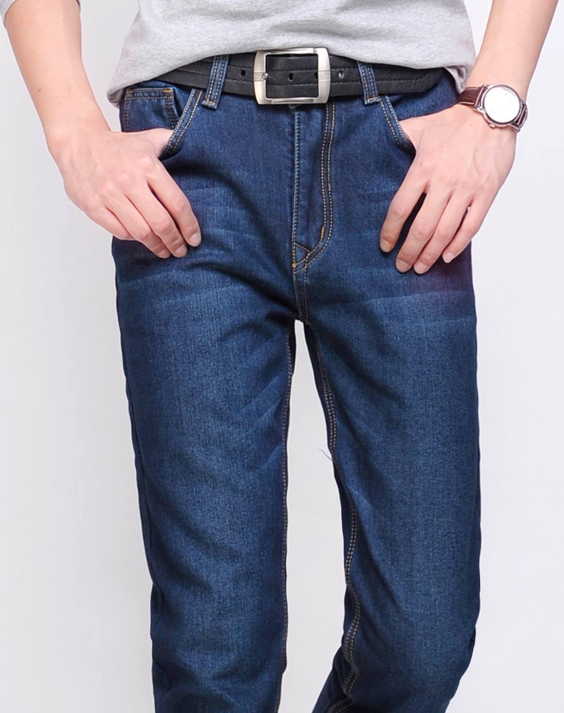 男款深蓝色3牛仔裤