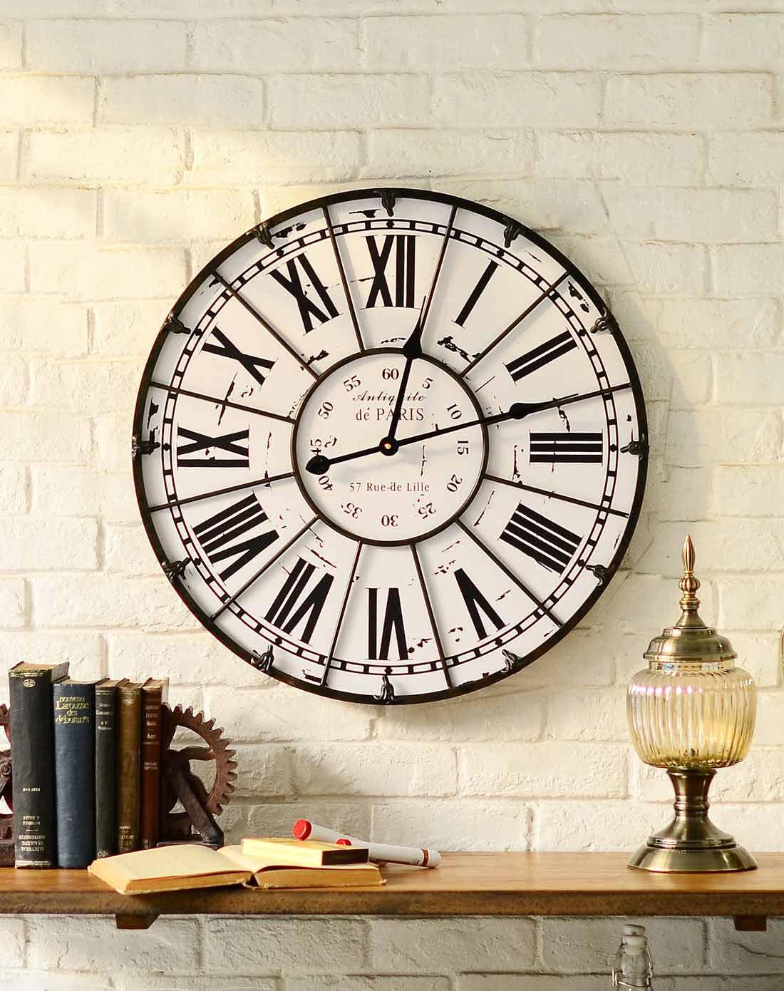 美式墙面装饰挂钟 铁艺罗马数字客厅挂钟图片
