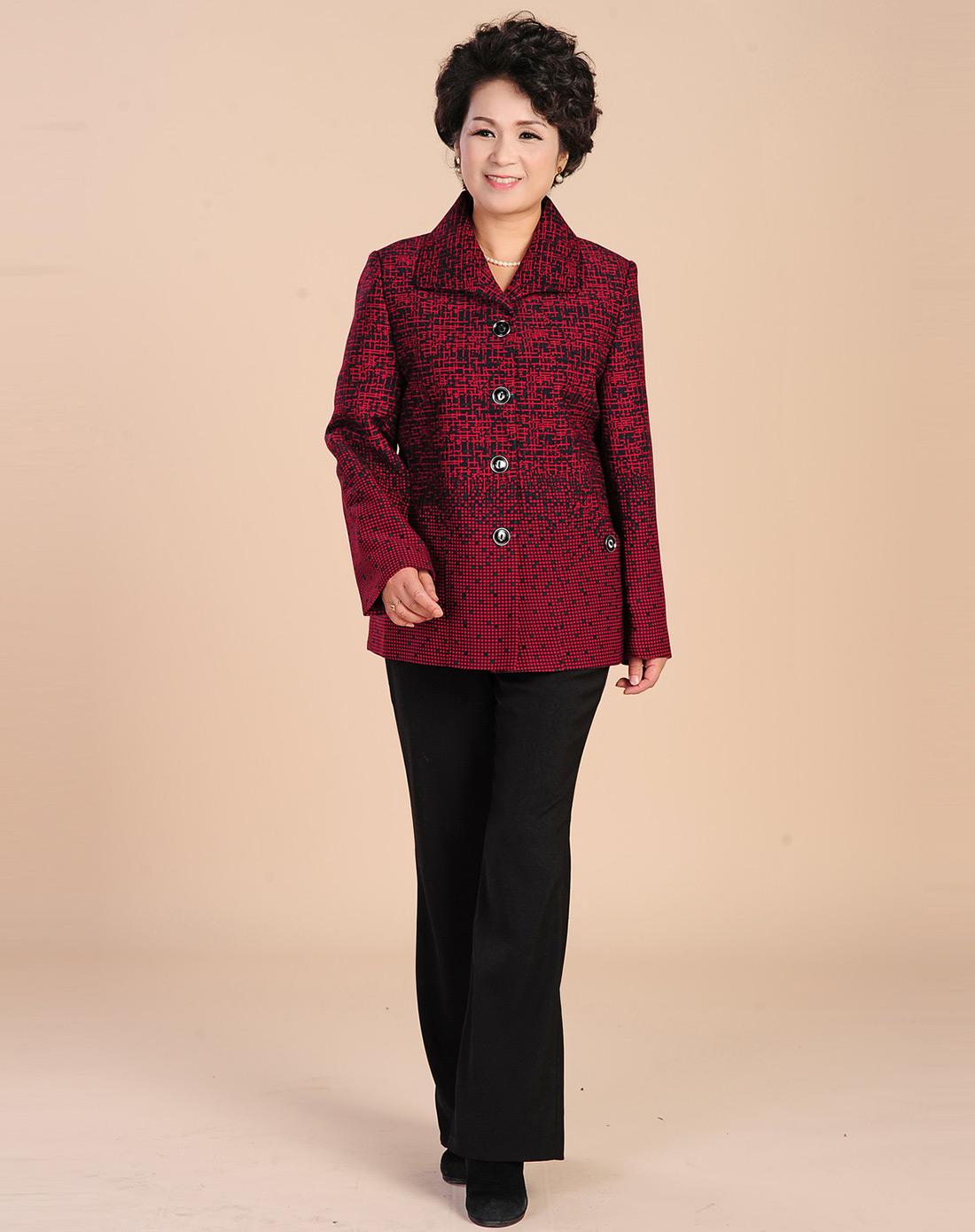 大红色马赛克花纹长袖外套