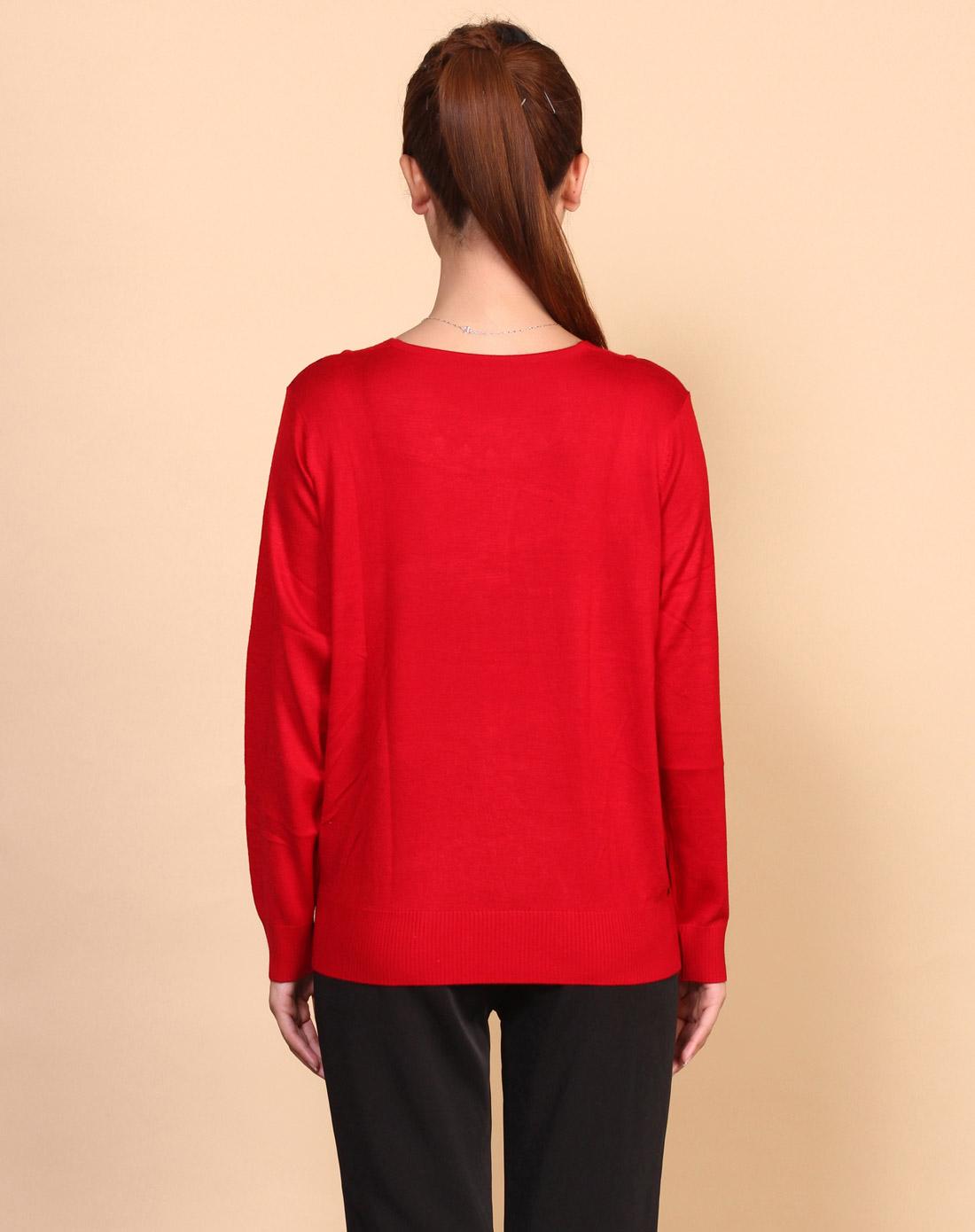女款环纹枣红色圆领羊毛针织衫