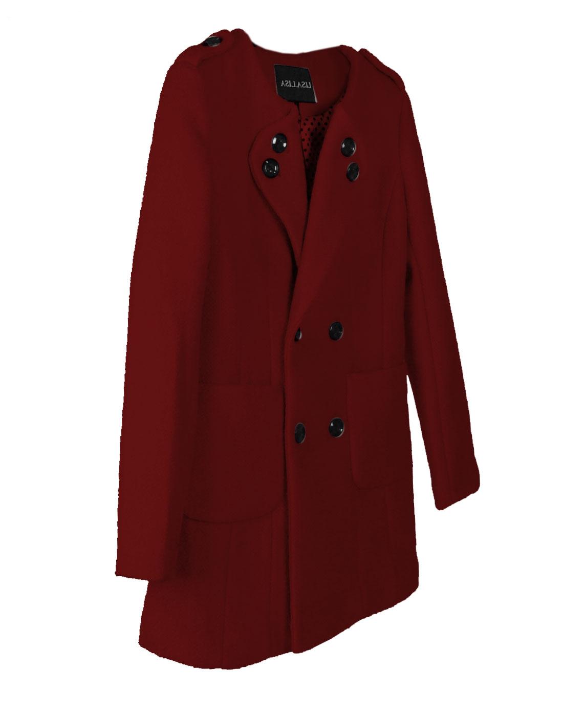 酒红长外套