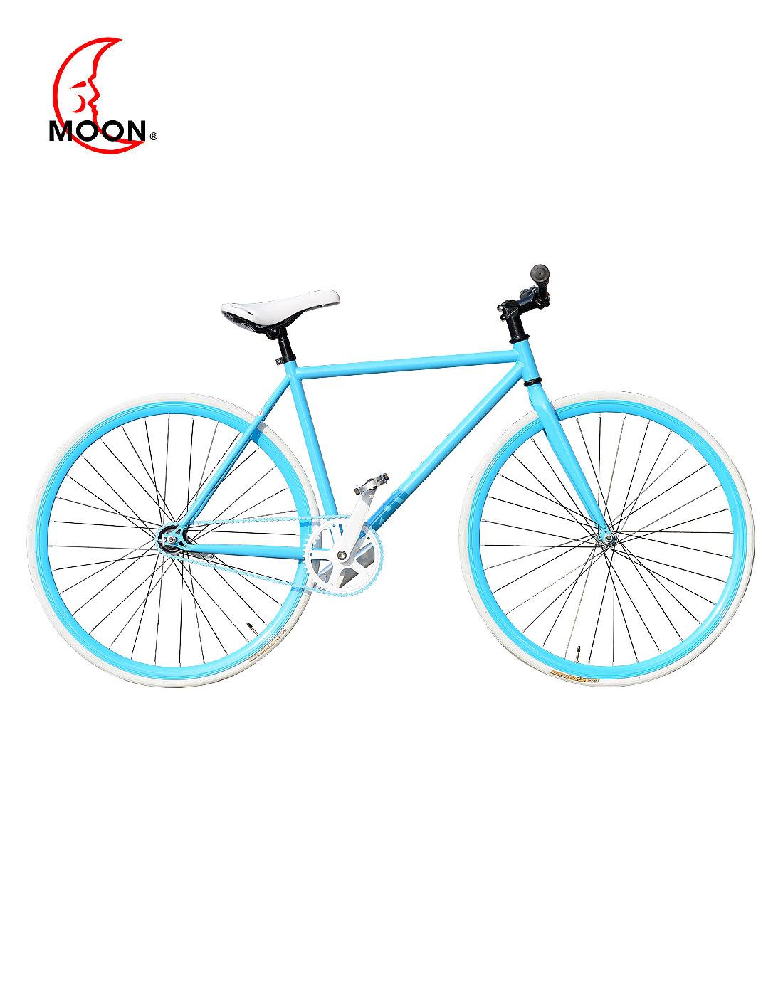 白/天蓝色时尚死飞自行车图片