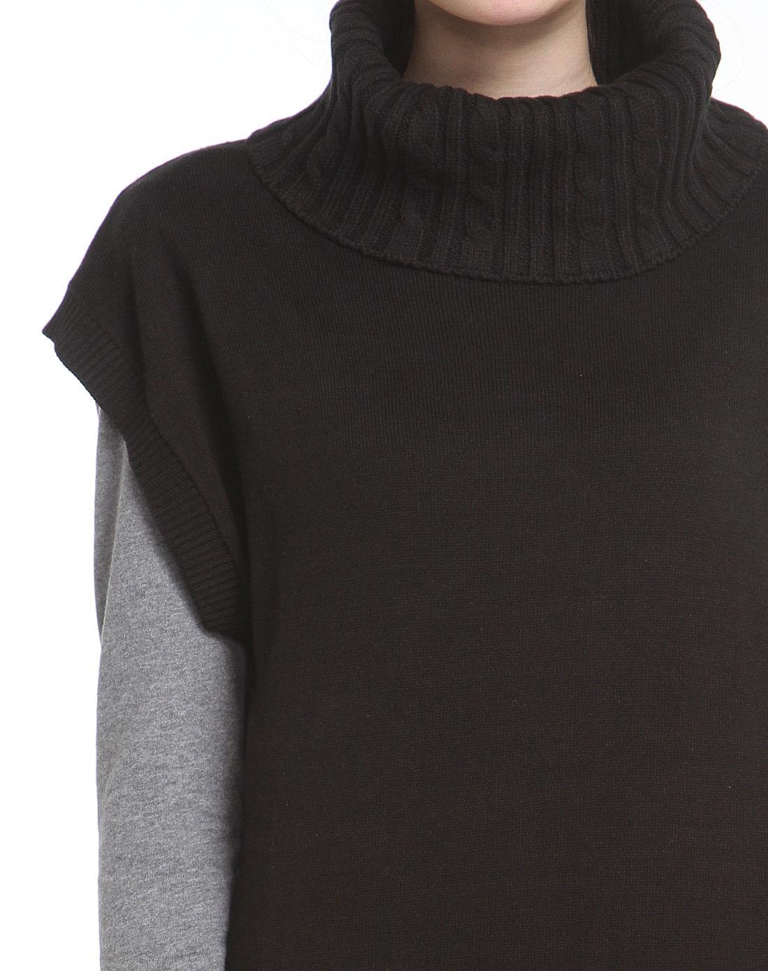 森马黑色时尚高领无袖毛衣两件套12079412003-9000