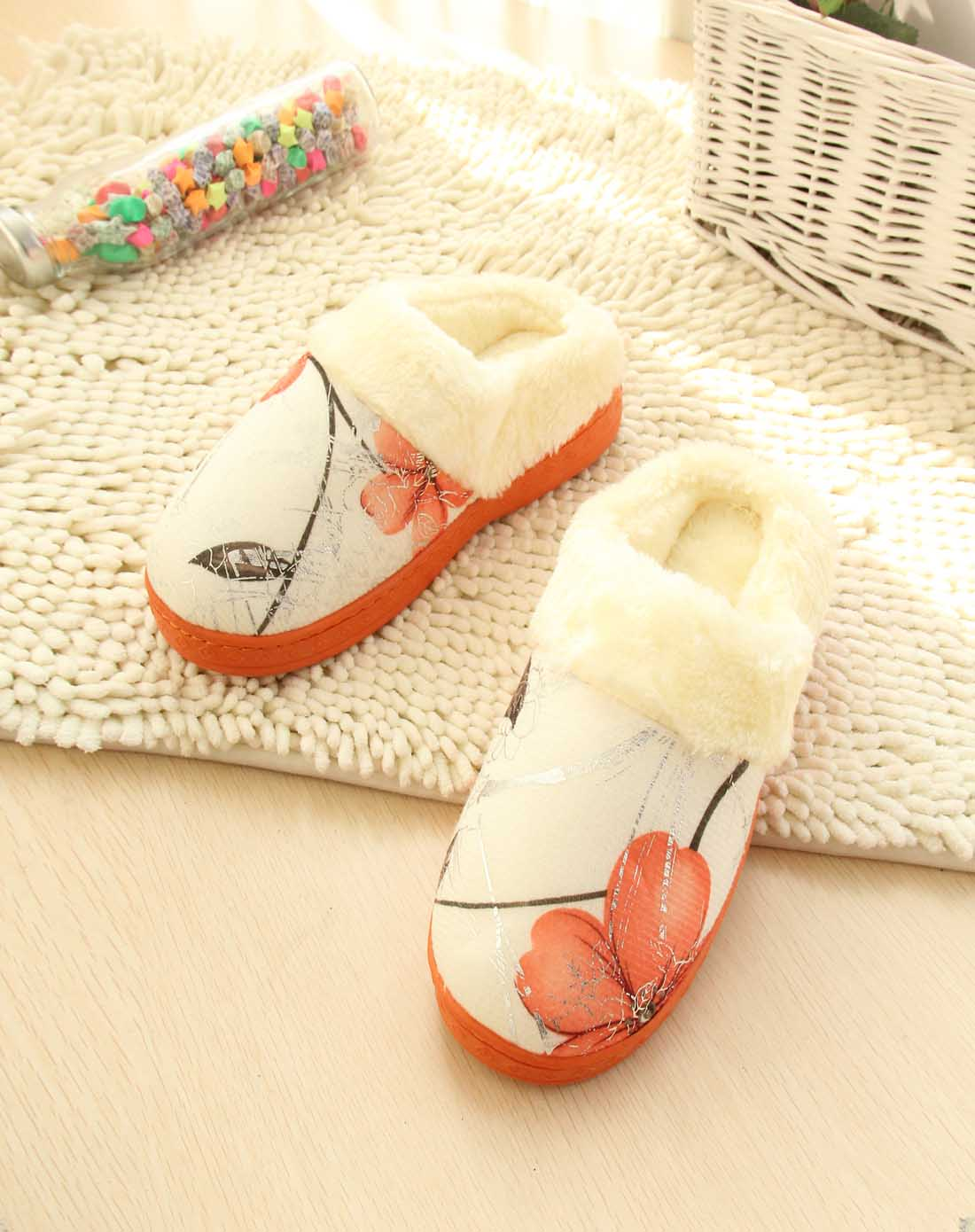 女士橙色中国风玫瑰花棉拖鞋