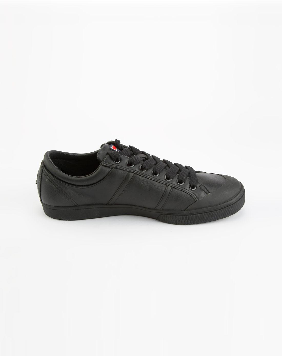 运动品牌斐乐fila 男款黑色皮面系带休闲鞋21111309