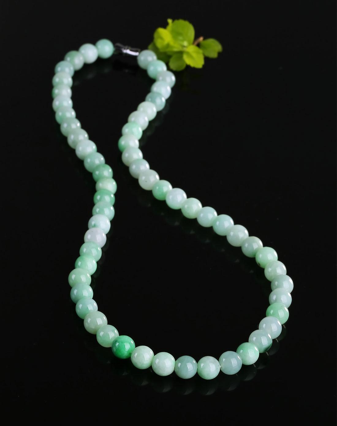 精选豆绿色翡翠珠子编制项链