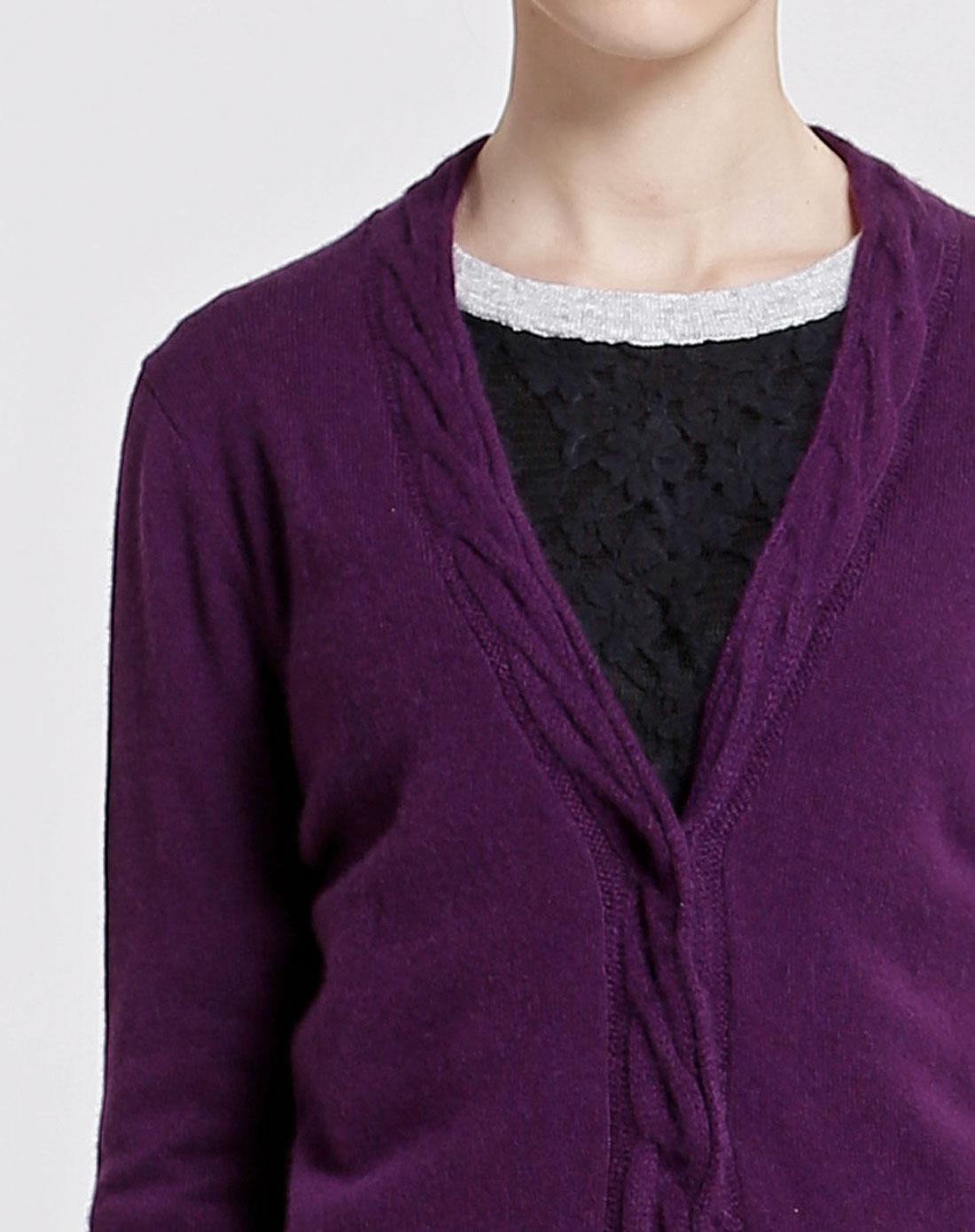 紫色长袖100%羊绒针织开衫