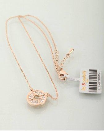 复古铜钱金色水晶项链